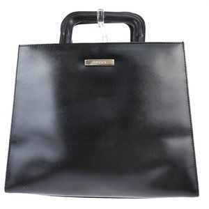 GUCCI Logo Hand Tote Bag Leather Black Silver Plat